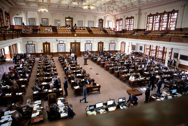 The floor of the Texas House in 2019. The Nov. 3 election will decide the balance of power in the chamber for next year's legislative session.