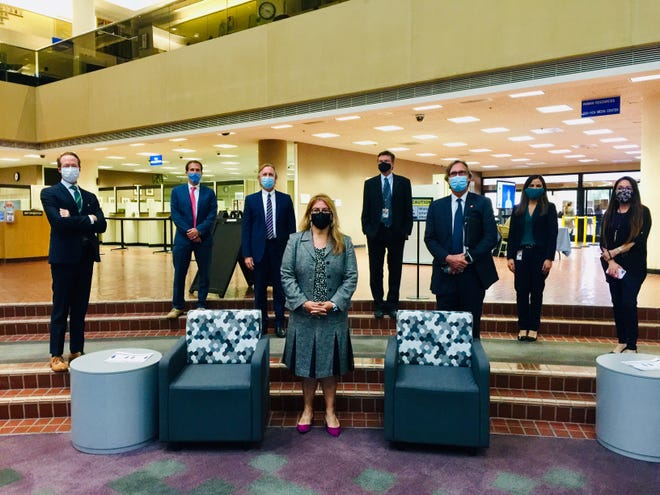The Ventura County Board of Supervisors on Tuesday unanimously approved Assistant Public Defender Claudia Bautista, center, to be appointed to the county public defender's office. She is the first woman, Latina and immigrant to head the agency
