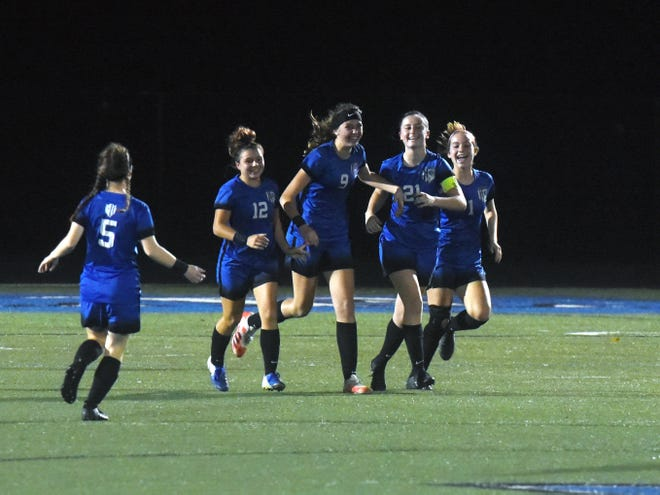 Zanesville players celebrate Jillian Wiersma's goal to start the second half during a 4-1 win against West Muskingum on Wednesday during a Division II sectional match at John D. Sulsberger Memorial Stadium. Wiersma scored three times.