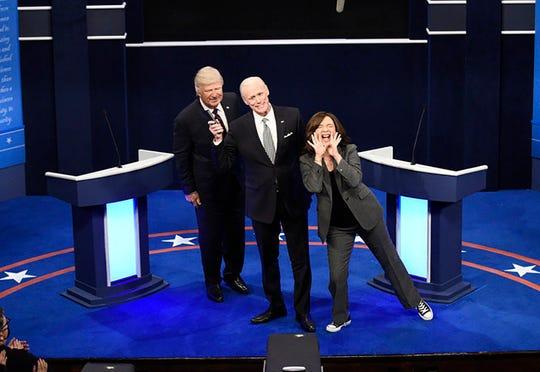 Alec Baldwin as President Donald Trump, Jim Carrey as former Vice President Joe Biden, and Maya Rudolph as Sen. Kamala Harris on Saturday Night Live on Oct. 3, 2020, in New York City.