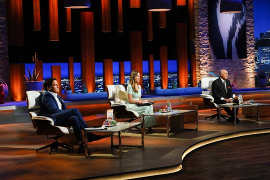 """Mark Cuban, far left, Kendra Scott and Kevin O'Leary hear pitches in the """"Shark Tank."""""""