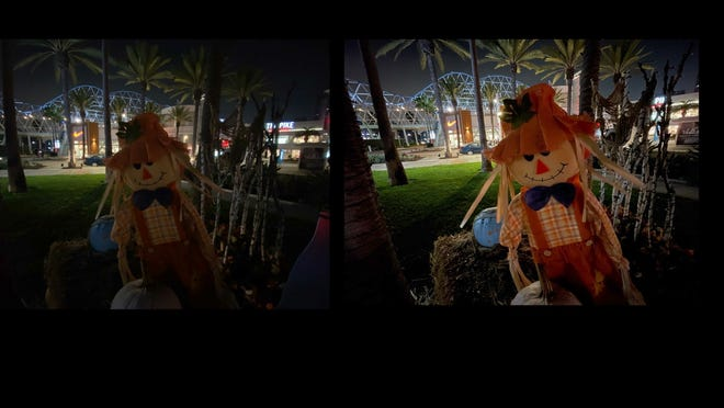 A shopping mall scarecrow, photographed on iPhone 11 Pro (left) and iPhone 12 Pro (right.)