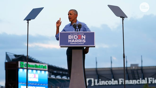 Former President Barack Obama took aim at President Donald Trump's COVID-19 response at a rally for Joe Biden in Philadelphia on Oct. 21.