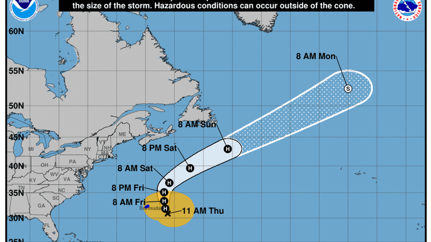 Hurricane Epsilon to deliver glancing blow to Bermuda on Thursday; US East Coast may see 'dangerous' surf thumbnail
