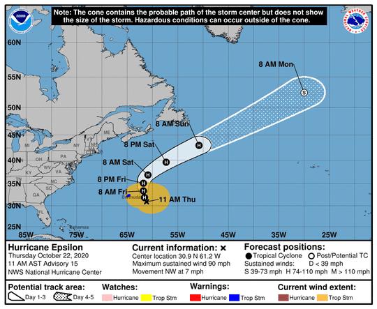 The forecast path of Hurricane Epsilon.
