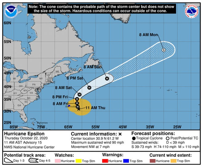 Huracán Epsilon pasa por el este de las Bermudas
