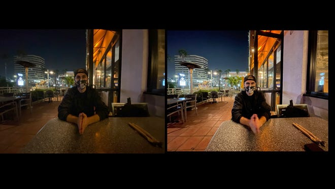 Sean Fujiwara, photographed at a California Pizza Kitchen restaurant in Long Beach, California at approx. 7:30 p.m. Left: iPhone 11 Pro, Right, iPhone 12 Pro