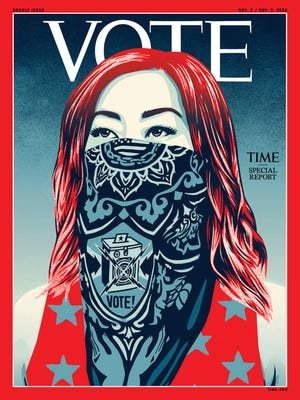 """The issue, dated for a Nov. 2 release, features artwork by the artist Shepard Fairey of a woman wearing a bandana with a ballot box and """"vote!"""" printed on it."""