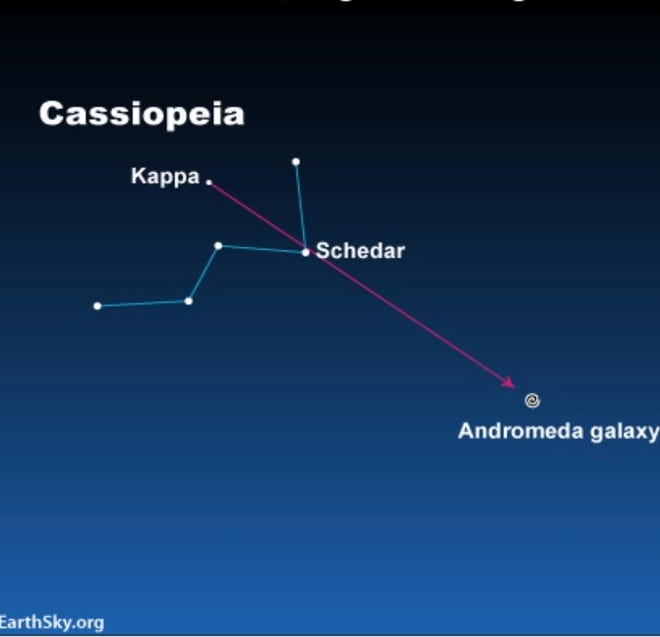 Follow this diagram to find the Andromeda galaxy in the night sky.