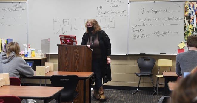 Gilbert High School English teacher Tracy Tensen teaches in her class Friday, Oct. 23, 2020, in Gilbert, Iowa.