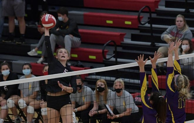 Thea Rotto, who recently became Gilbert's all-time leader in kills, goes up for a spike during the Tigers' Class 4A regional semifinal match with Webster City Thursday at Gilbert. Rotto had 13 kills to help the Tigers sweep the Lynx and advance to play No. 2 Waverly-Shell Rock next Tuesday for the right to go to state.