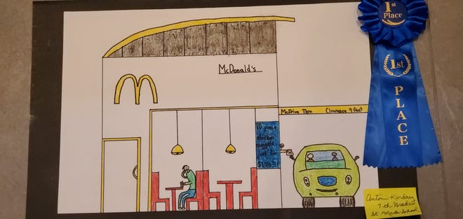 Antoni Kardacz, a seventh-grade student at St. Mark School in Bristol took home the top prize in the Historic Bristol Day art contest this year, which had a restaurant theme. Artwork created for the contest has been on display at the Margaret R. Grundy Memorial Library in the borough.