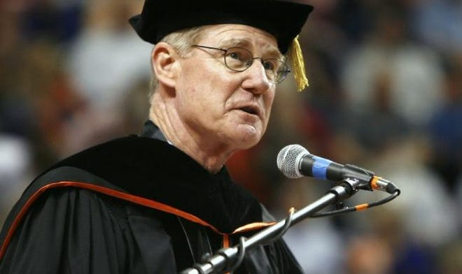 Oklahoma State University President Burns Hargis, still in his first year in office, speaks during the commencement ceremony for the 2008 graduating class at Gallagher-Iba Arena in Stillwater on May 3, 2008. Hargis announced Friday he will retire as OSU president in July.