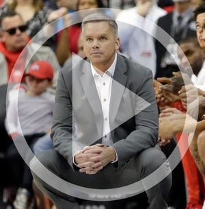 In this file photo Ohio State Buckeyes head coach Chris Holtmann watches his team from the sideline during the first half of Sunday's NCAA basketball game against the UMass Lowell River Hawks at Value City Arena in Columbus on November 10, 2019. Ohio State won the game 76-56.