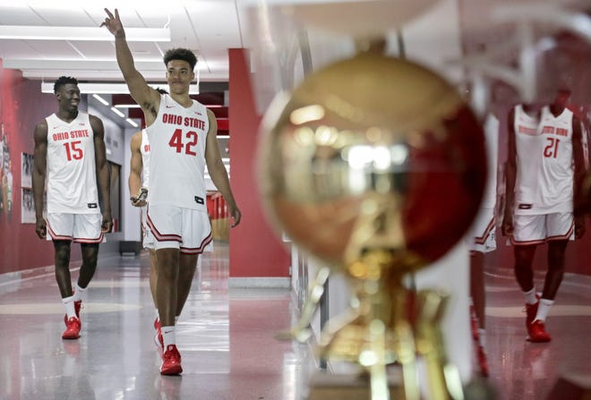 Harrison Hookfin greets reporters from the hallway before the Ohio State men's basketball team's media day in the Value City Arena practice gym in Columbus on Tuesday, September 24, 2019. [Barbara J. Perenic/Dispatch]