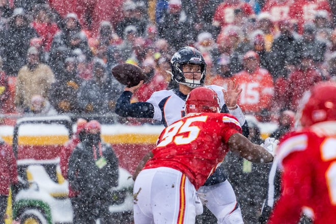 Former Missouri star and Denver Broncos quarterback Drew Lock unleashes a pass against the Kansas City Chiefs last December.