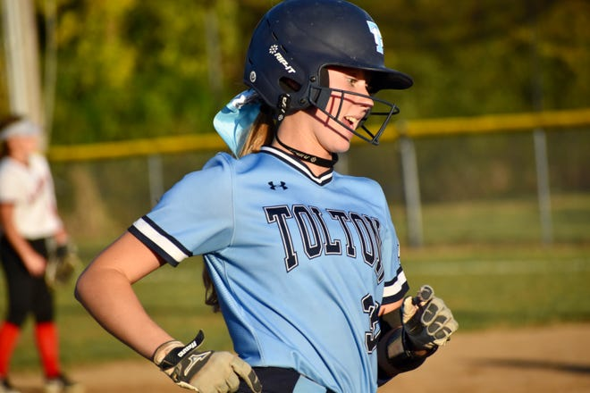 Tolton's Bridget Bartlett runs the bases after hitting a two-run home run against Elsberry during a Class 2 quarterfinal game Thursday night at Elsberry High School.