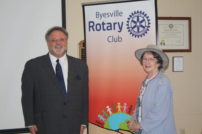 Shon Gress, executive director of the Guernsey County Senior Citizens Center and Meals on Wheels, and Shana Fair, speaker host.