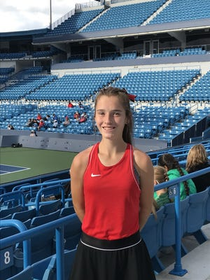 Orrville's Claudia Adcock at the Lindner Family Tennis Center during Friday's Div. II state tournament