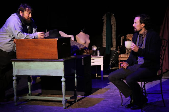 """Cory Lawson and Paul Kortemeier rehearse a scene from the Wallace Theater production of """"The Woman in Black - West Texas."""" The production continues next weekend at the theater in Levelland."""