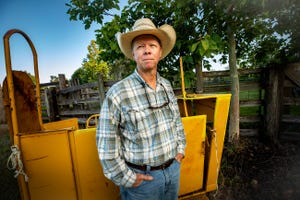 Rancher Stuart Fitzgerald next to cow pens on his cattle ranch in Lake Wales Fl. Thursday October 8, 2020.Cattle and beef prices remain low, keeping Polk ranches struggling.