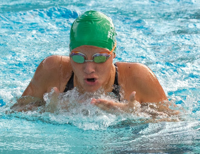 Haines City High School's Selin Shilts swims the butterfly leg on her way to winning the Girls 200 Yard Individual Medley during the 2020 FHSAA 4A District 4 Swimming Championship at Gandy Pool in Lakeland on Friday.