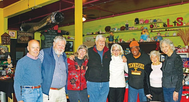 Past Bow Tie Award honorees gathered in January at Razzleberry's to announce Tom Beehan as this year's award recipient. From left are William 'Bear' Stephenson, Ray Smith, Teresa Myrick, Beehan, Cande Seay, Bill Capshaw, Louise Mixon and Tom's wife, Kay Brookshire.