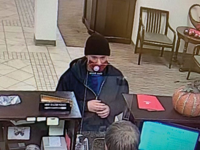 This is a still image from a videotape of the man believed to have robbed One Bank in Oak Ridge on Friday morning, October 23, 2020.