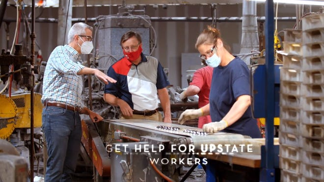 A still from an Anthony Brindisi campaign advertisement at Sherrill Manufacturing during the 2020 election.