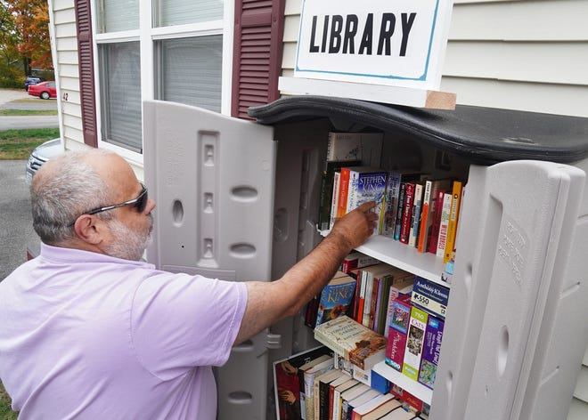 Portsmouth resident Scott Bornstein has created a free outdoor library for the elderly residents of Hillcrest Estates in Portsmouth, who will need something to keep them busy this winter, since the library and senior center are closed. Bornstein's free and well-stocked library will open in early November.