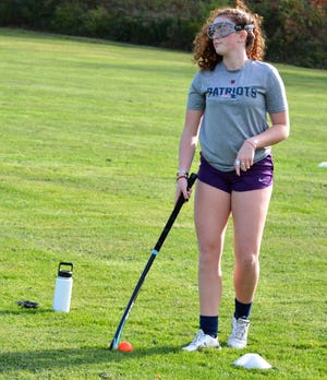 York High School's Ashley LaPierre was out with the rest of her field hockey teammates Monday during the first day of fall cohorted practices.
