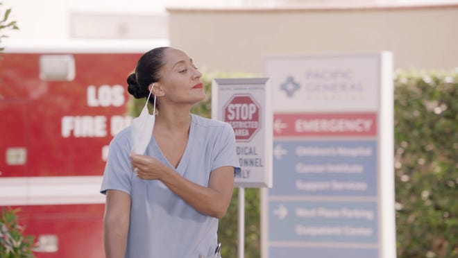 "Tracee Ellis Ross as Dr. Bow Johnson, now a frontline worker in the COVID-19 pandemic, in ABC's ""black-ish."" (ABC)"