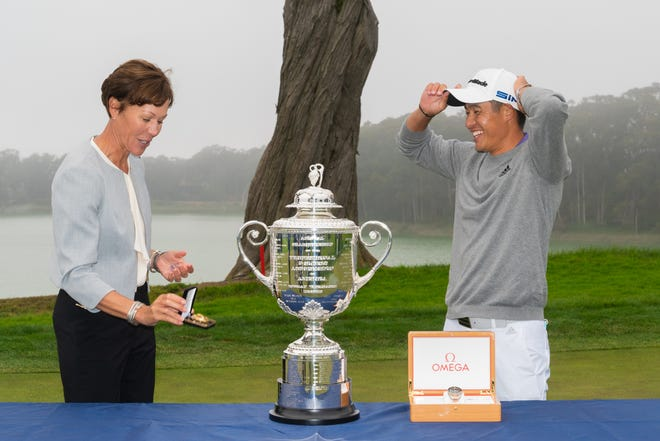 PGA of America President Suzy Whaley was able to present PGA Championship winner Collin Morikawa with his prizes during the rescheduled tournament in August in San Francisco.