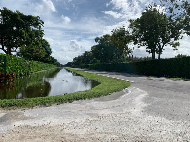 Officials are monitoring water levels in canals, drainage ditches and lakes throughout Wellington after several days of persistent rainfall. This swale runs along the east side of South Shore Boulevard, looking south from 52nd Avenue in Wellington's Equestrian Preserve Area, where many paddocks are holding water.