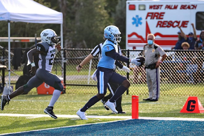 Keiser receiver Jerson Jacques trots into the endzone following a big catch-and-run during a game earlier this season.