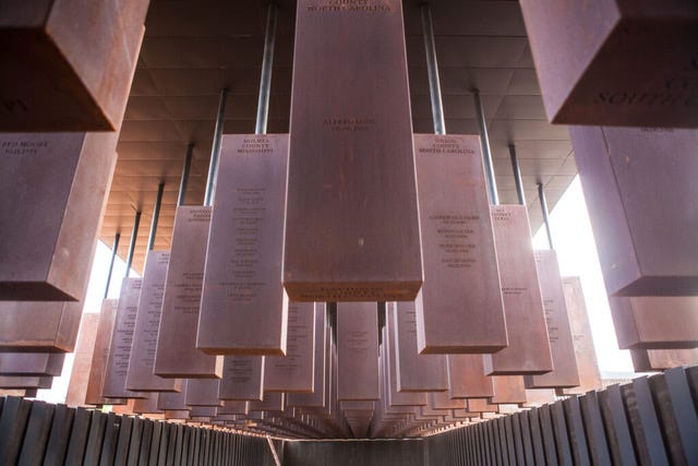 Each of the 800 hanging blocks at the National Memorial for Peace and Justice in Montgomery, Alabama is engraved with the names of lynching victims from a particular county. The block representing Manatee County (of which Sarasota was a part in the early 19th century) bears the names of six men.