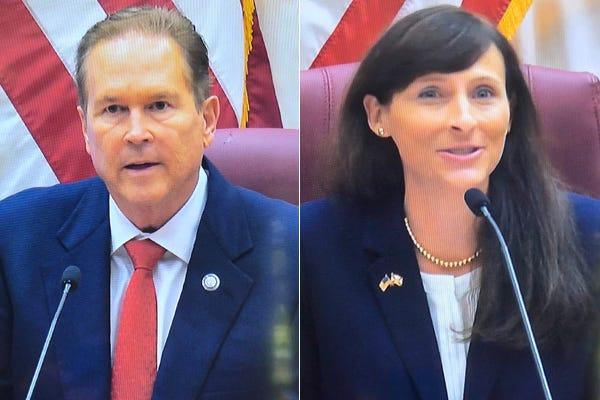 Vern Buchanan, left, and Margaret Good in screenshots from their debate.