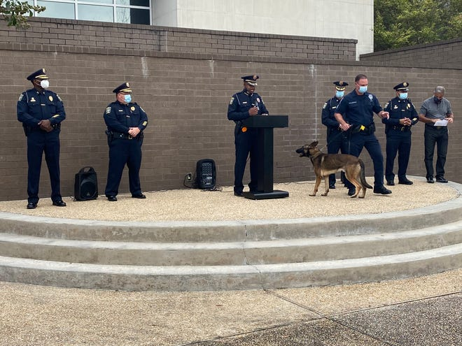 Wilmington Police Department Chief Donny Williams at the Friday's ceremony, with a dog in the K-9 unit standing by.