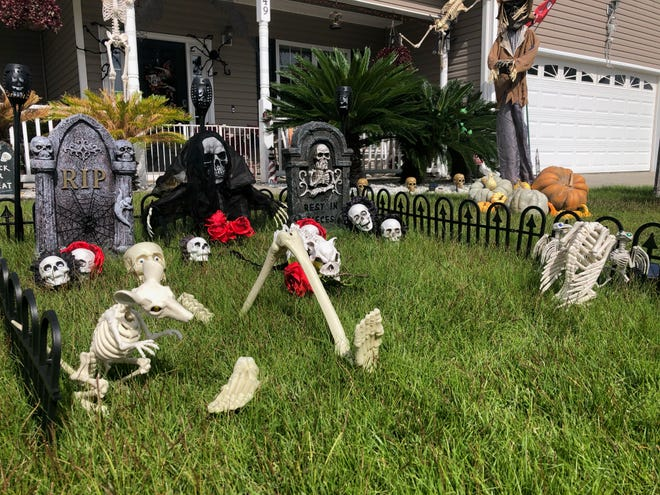 The Donners' graveyard will double as decoration and destination this year as they use it to create a candy hunt for trick or treaters this Halloween.