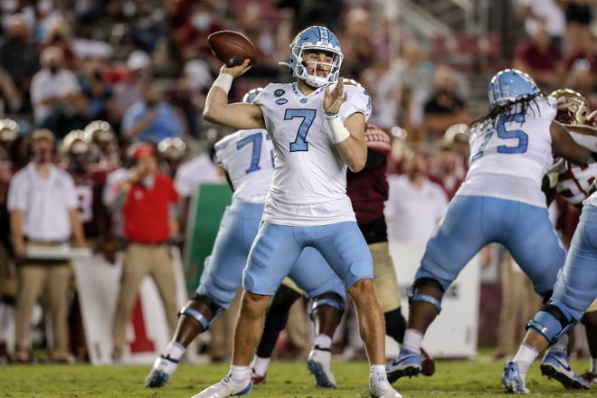 UNC quarterback Sam Howell will be targeting an explosive group of receivers matched up against an N.C. State secondary that has been hindered by injuries this season.