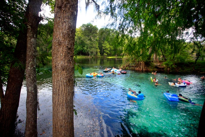 Devil's Eye Spring at Ginnie Springs flows into the Santa Fe River, a common tubing run in High Springs.