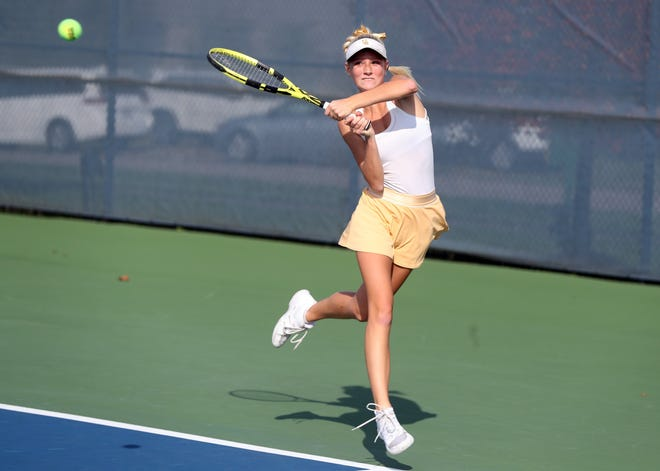 Upper Arlington's Megan Basil competes in a doubles match during the Division I state tournament Oct. 23 at Lindner Family Tennis Center in Mason.