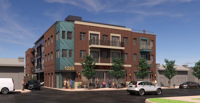 This illustration submitted by Crossley Development shows a view of a proposed 4-story multiuse project at 1229 and 1237 Grandview Ave., as viewed from Haines Avenue. The developer is proposing office and retail use on the first floor and apartment units on the upper floors. Residents and planning commission members raised concerns about the size and scope of the project and its impact on residents who live on Broadview Avenue behind the project site.