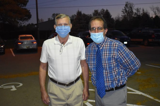 Bruce Buchanan (left) went into cardiac arrest Sept. 16 while playing pickelball at Hilliard's Roger A. Reynolds Municipal Park. Four bystanders, including ThisWeek Community News reporter Kevin Corvo (right), who was there conducting interviews for a story, leapt into action to help save his life.