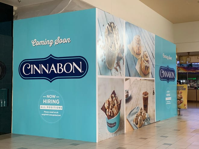 A barricade covering the construction of a new Cinnabon location at The Mall of Victor Valley has been up for several weeks.