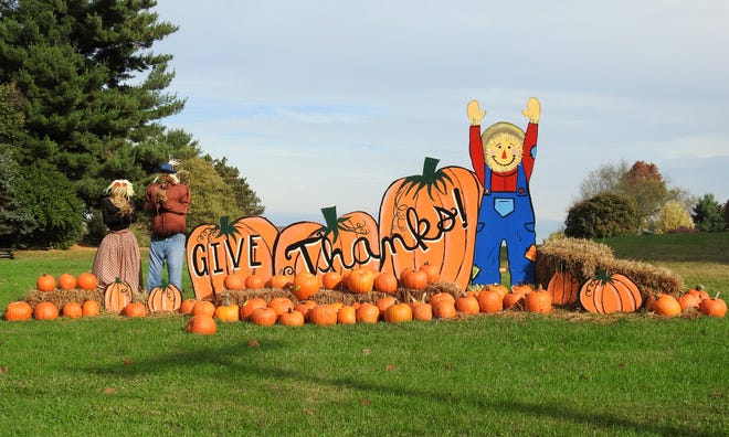 A fall scarecrow display outside Emmanuel Lutheran Church can be viewed by the public and those participating in treat or treat. The city of Coshocton will observe trick or treat from 5to 6:30 p.m. on Halloween.