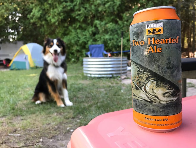Bell's Brewery's Two Hearted Ale. And a dog. Because dogs rule.