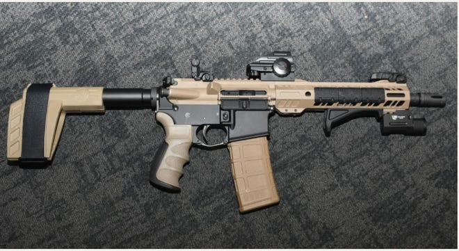 One of several stolen firearms recovered by the Vanderburgh County Sheriff's Office on Wednesday, Oct. 21, 2020.