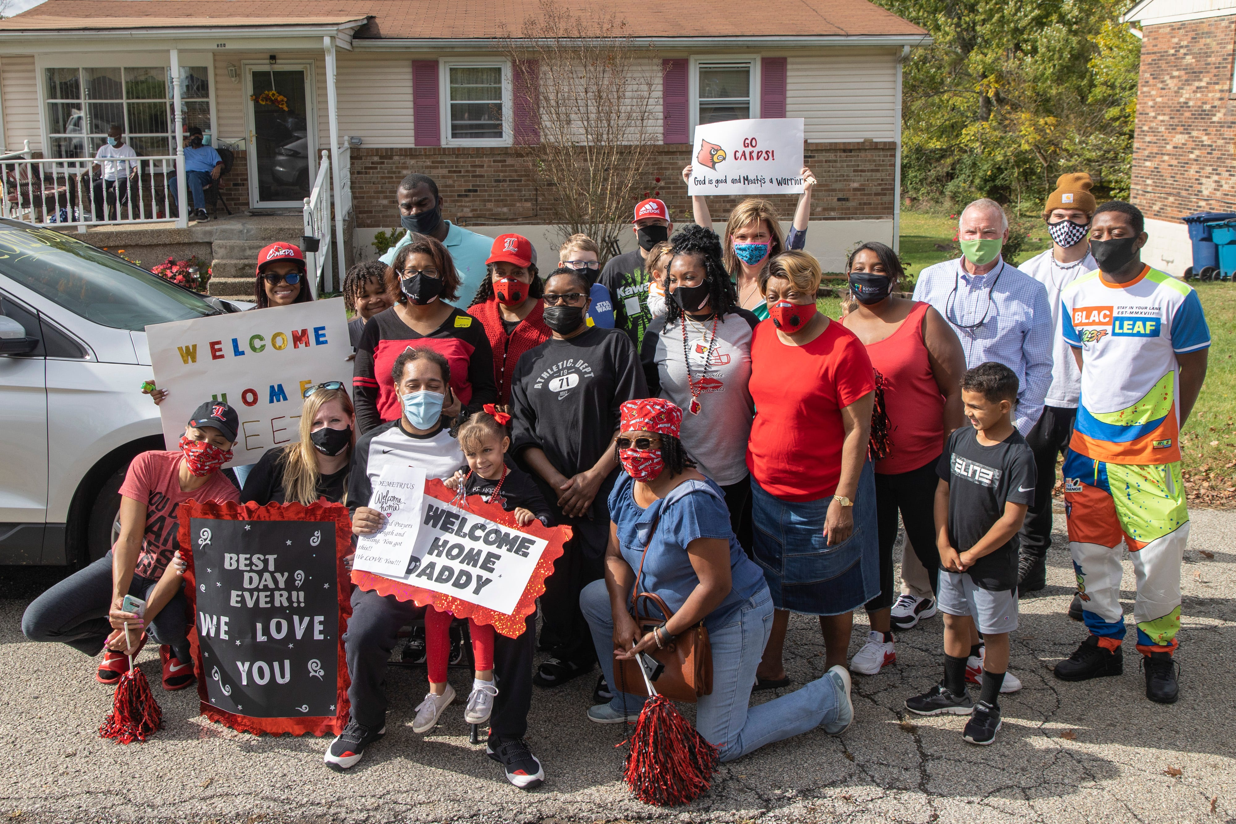 Demetrius Booker, who spent 95 days in the hospital after battling COVID-19, returns home to friends and family after leaving Louisville Baptist East on Friday.. Oct. 23, 2020