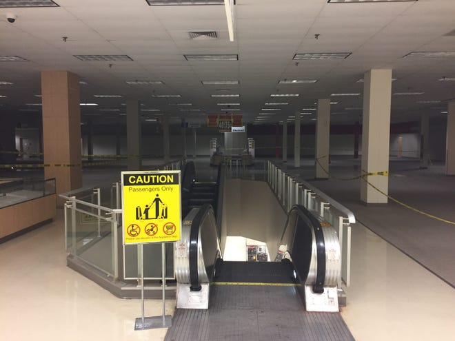 Portions of the Sears clothing department near the escalator to the downstairs tool and appliance areas were closed off in Oct. of 2019 as the store was closed.